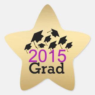 Oro de los gorras de la graduación del vuelo, pegatina en forma de estrella