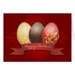 Oro de los huevos de Pascua adornado - rojo