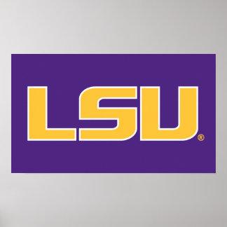 Oro de LSU y logotipo blanco Póster