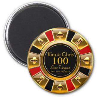 Oro de lujo de Las Vegas y favor rojo del Imán Redondo 5 Cm