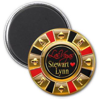Oro de lujo de Las Vegas y favor rojo del micropro Imán Redondo 5 Cm