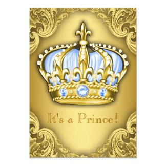 Oro de lujo de los azules cielos del príncipe invitación 12,7 x 17,8 cm