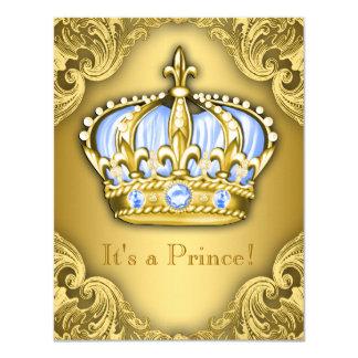 """Oro de lujo de los azules cielos del príncipe invitación 4.25"""" x 5.5"""""""