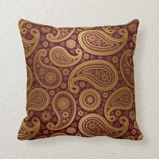 Oro de lujo de Paisley el | Borgoña Cojín Decorativo
