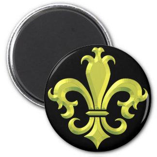 Oro de lujo New Orleans de la flor de lis Imán Redondo 5 Cm