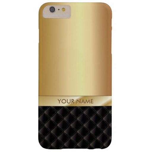 Oro de lujo real con nombre de encargo funda de iPhone 6 plus barely there