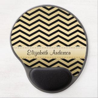 Oro de lujo y Chevron negro con nombre Alfombrilla Con Gel