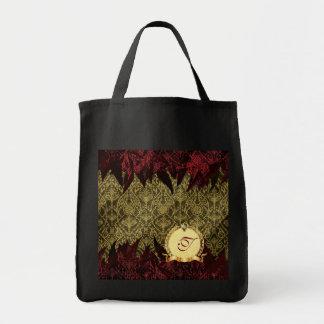Oro de lujo y rojo del damasco del Grunge con el m Bolsas De Mano