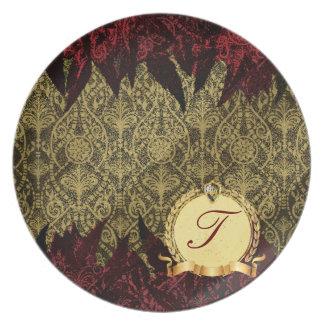 Oro de lujo y rojo del damasco del Grunge con el m Plato De Cena