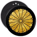 Oro de lunes del crisantemo de Kiku en negro Pin Redondo De 6 Pulgadas