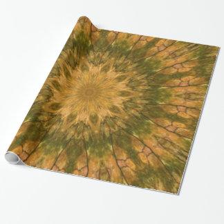 Oro de maderas de Camo y caleidoscopio verde Papel De Regalo