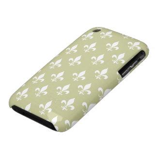 Oro de Matt y modelo blanco de la flor de lis Case-Mate iPhone 3 Cárcasa