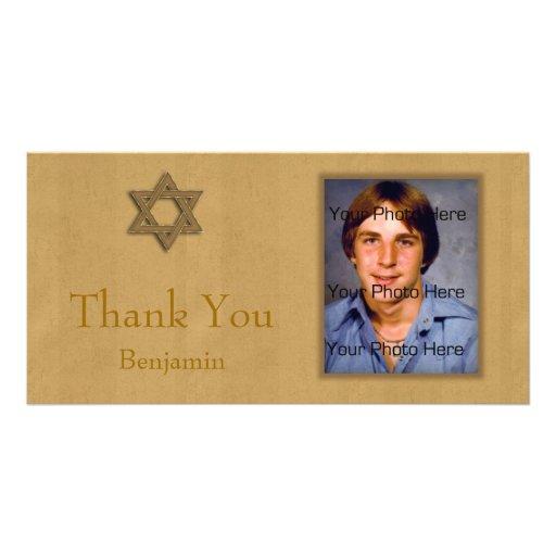 Oro de Mitzvah de la barra Tarjeta Con Foto Personalizada