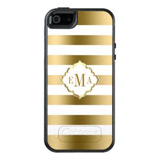 Oro de moda y rayas blancas funda otterbox para iPhone 5/5s/SE