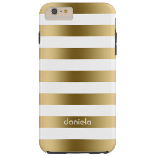 Oro de Monogramed y modelo geométrico de las rayas Funda De iPhone 6 Plus Tough