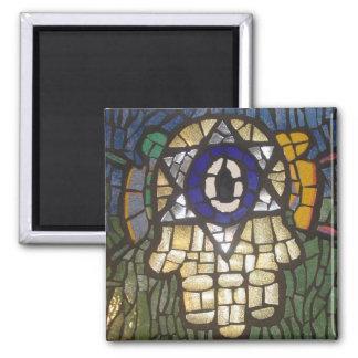 Oro de mosaico Hamsa con la estrella y el mal de o Imán Cuadrado