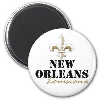 Oro de New Orleans Luisiana Imán Redondo 5 Cm