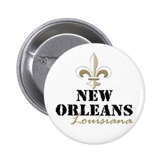 Oro de New Orleans Luisiana Pin Redondo De 2 Pulgadas