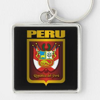 """""""Oro de Perú """" Llavero Cuadrado Plateado"""