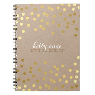 Oro de punto lindo ATRACTIVO del CONFETI Kraft Cuadernos