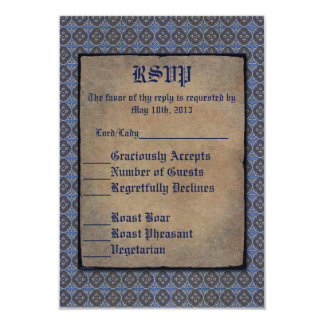 """Oro de Quatrefoils en azul Invitación 3.5"""" X 5"""""""