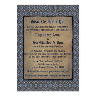 """Oro de Quatrefoils en azul Invitación 5"""" X 7"""""""