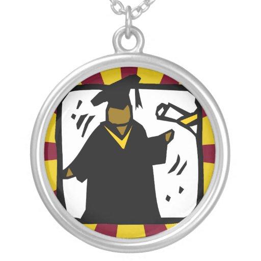 Oro de recepción graduado y rojo del diploma (1) colgante redondo