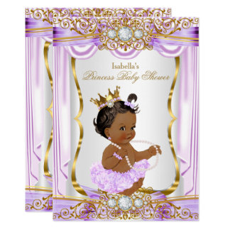 "Oro de seda púrpura de la princesa fiesta de invitación 5"" x 7"""