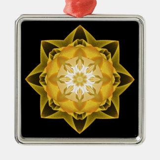 Oro de Stardust del fractal Adorno Navideño Cuadrado De Metal