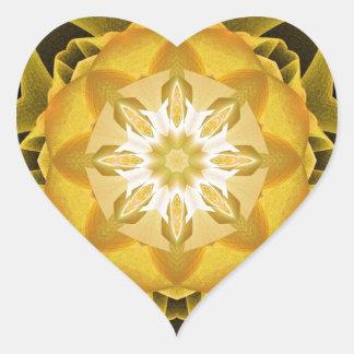 Oro de Stardust del fractal Pegatina En Forma De Corazón