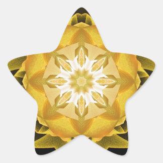 Oro de Stardust del fractal Pegatina En Forma De Estrella