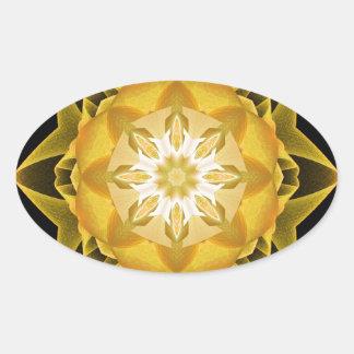 Oro de Stardust del fractal Pegatina Ovalada