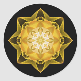 Oro de Stardust del fractal Pegatina Redonda