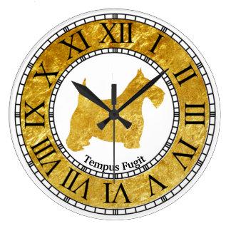 Oro de Terrier del escocés con oro Reloj Redondo Grande