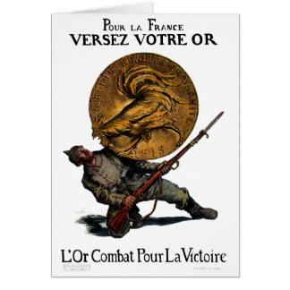 Oro de WWI para la victoria francesa Tarjeta De Felicitación