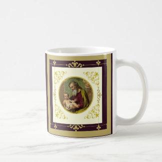 Oro decorativo de Jesús de San José y del niño Taza De Café