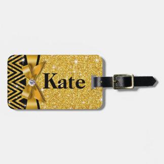 Oro del arco el   del diamante de Chevron Bling Etiquetas Para Equipaje