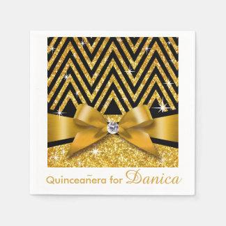 Oro del arco el   del diamante de Chevron Bling Servilleta Desechable