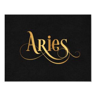 """Oro del aries de la muestra del zodiaco de la invitación 4.25"""" x 5.5"""""""