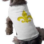 Oro del arte de la flor de lis camisetas de perrito