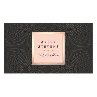 Oro del artista de maquillaje del vintage y negro tarjetas de visita