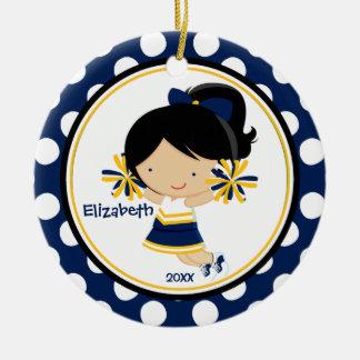 Oro del azul del ornamento del navidad del chica d ornato