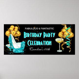 Oro del azul del trullo de la celebración de la póster