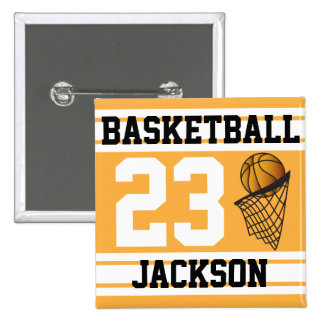 Oro del baloncesto y texto de las rayas el | DIY Pin Cuadrada 5 Cm