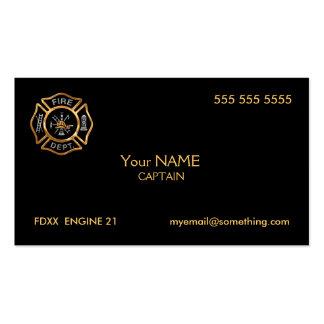 Oro del bombero tarjetas de visita