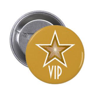"""Oro del botón"""" de la estrella """"VIP"""" del """"oro Pin Redondo De 2 Pulgadas"""