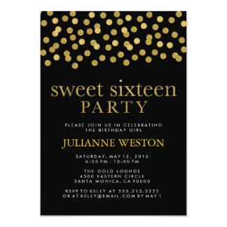 """Oro del brillo y fiesta negro del dulce dieciséis invitación 5"""" x 7"""""""