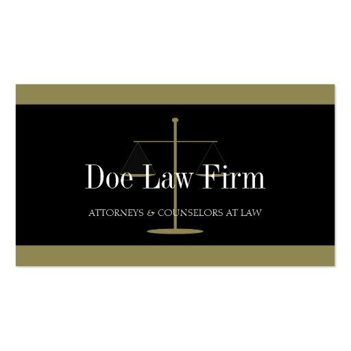 Oro del bufete de abogados/bandera negra tarjetas de visita