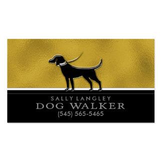 Oro del caminante del perro falso y tarjeta de tarjetas de visita