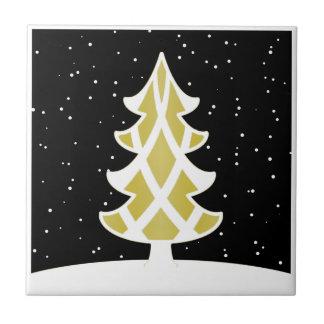 Oro del cielo Nevado de las cintas del árbol de na Azulejo Cuadrado Pequeño